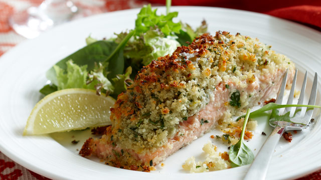 Crusted salmon fillets