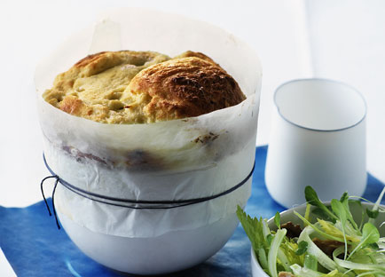 Blue cheese souffle with walnut and celery salad