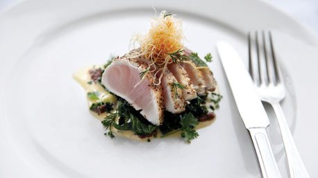 Margan Restaurant's seared pepper crusted kingfish, crisp silverbeet and anchovy mayonnaise