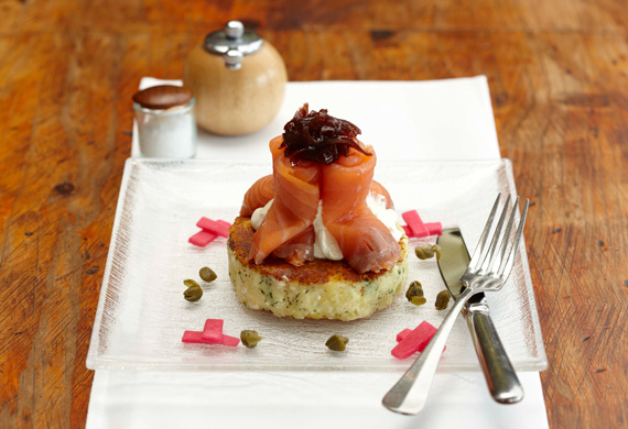 Feta and potato cake with crème fraîche, smoked salmon, red onion marmalade and pickled turnips