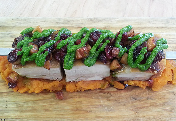 Pork shish kebab with apple and cranberry sauce, sweet potato and spinach cream