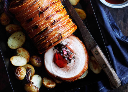 Roast pork with rhubarb and rosemary jelly