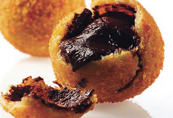 Guilt-free fried chocolate truffles with generous extra cream of healthy happiness