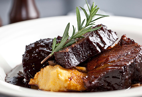 Slow-roasted beef cheeks with soft polenta and port jus