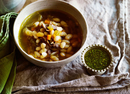 Confit duck, onion and bean soup with persillade