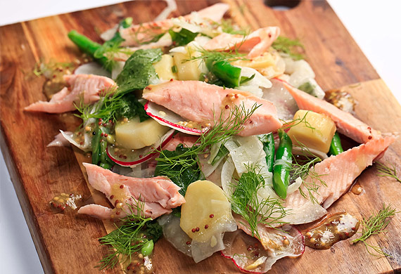 Warm winter salad of smoked rainbow trout, fennel, green beans, kipfler potato and seeded mustard dressing