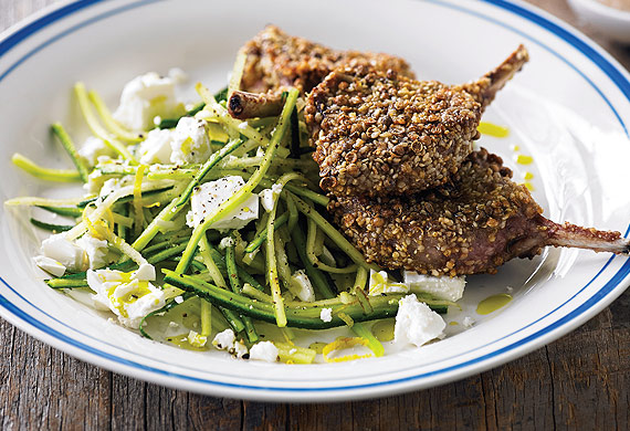Dukkah lamb chops with zucchini and pear salad