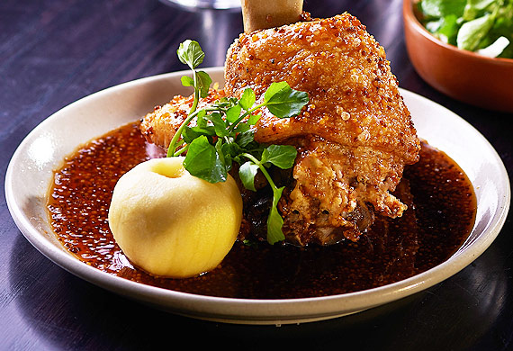 Crispy pork knuckle with soy mustard