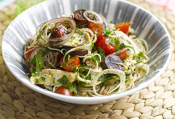 A warm chicken, chorizo and fennel salad
