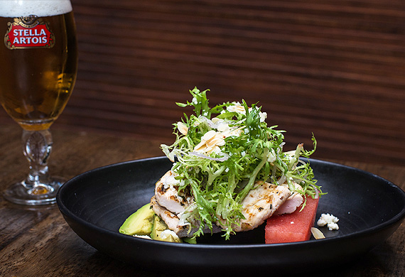 Warm chicken and watermelon salad with beer match