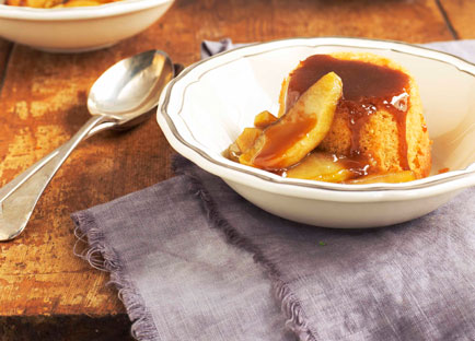 Apple and custard puddings with caramelised apple