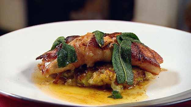 Turkey wrapped in bacon and sage with bubble & squeak