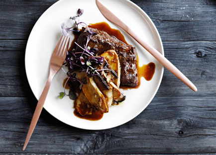 Pan-fried flank with shallot, mushroom and Madeira sauce