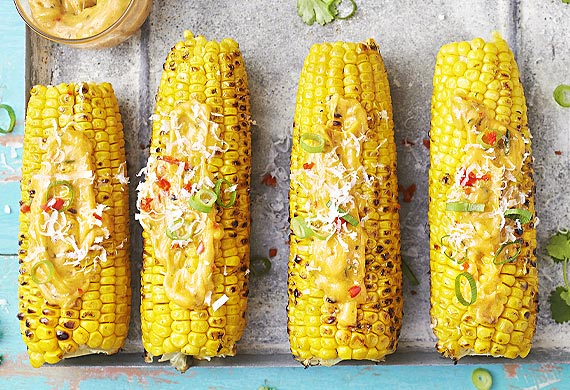 Mexican barbecue corn cobs