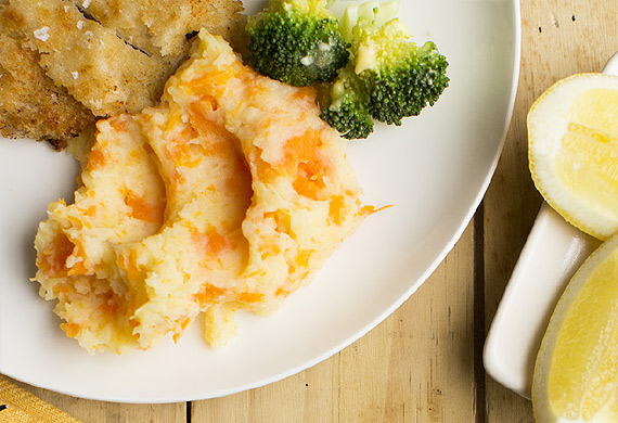 Pork schnitzel with orange vegetable mash