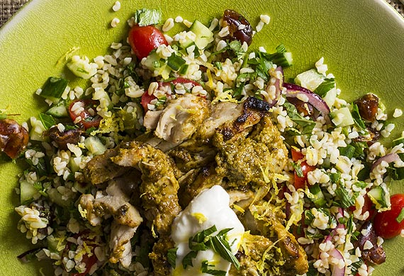 Chermoula chicken with date and lemon tabbouleh and yoghurt