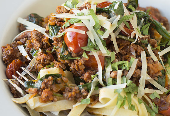 Speedy bolognaise with tagliatelle