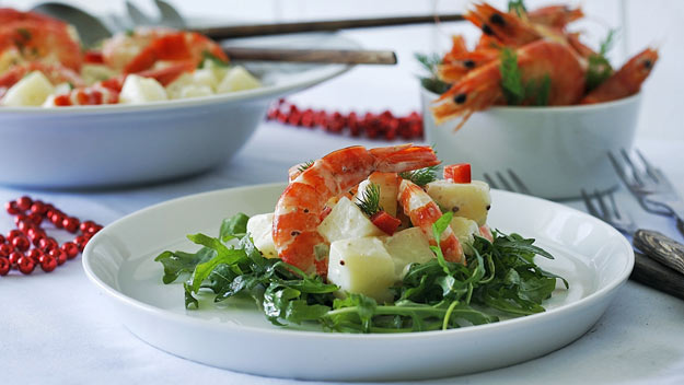 Festive tiger prawn and potato salad