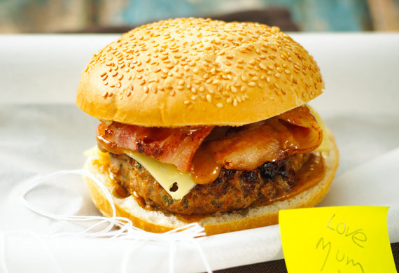 Barbecue pork and bacon burger