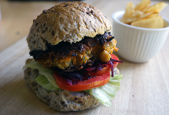 Chickpea and sweet potato burgers