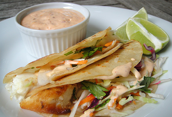 MSC-certified grilled hoki fish taco
