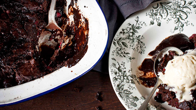 Double chocolate raspberry self-saucing pudding