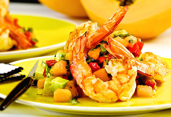 Prawn, avocado and papaw salad