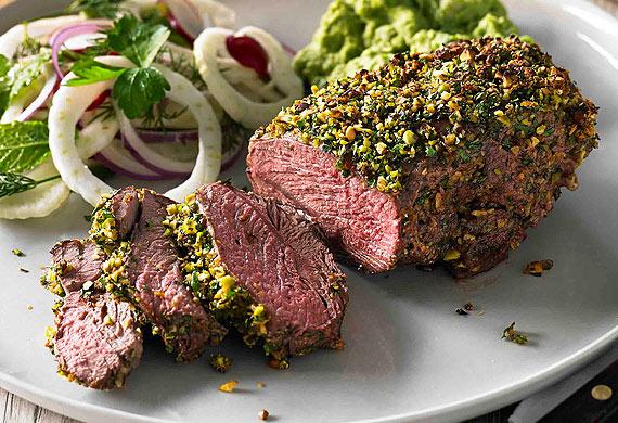 Hayden Quinn's herb and pistachio-crusted lamb rump
