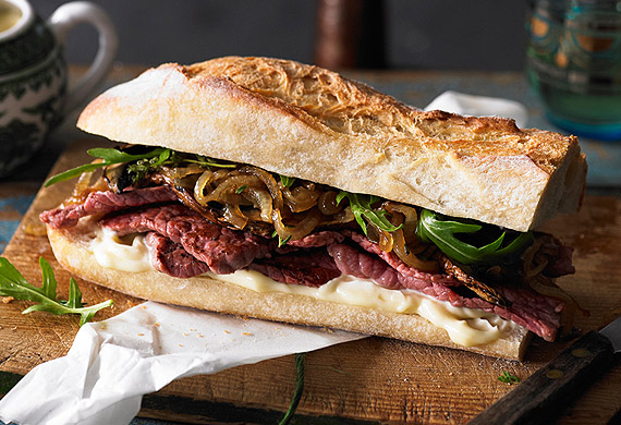 Gourmet silverside steak sandwich with caramelised onions