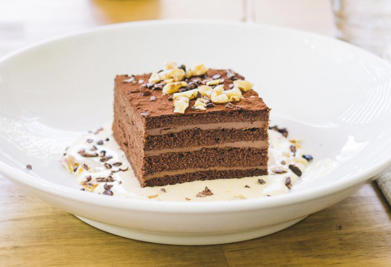 Bombini's Amedei chocolate, cherry and walnut cake
