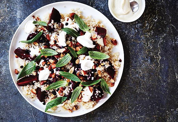 Quinoa and roasted beetroot salad with mint, smoked almonds and currants