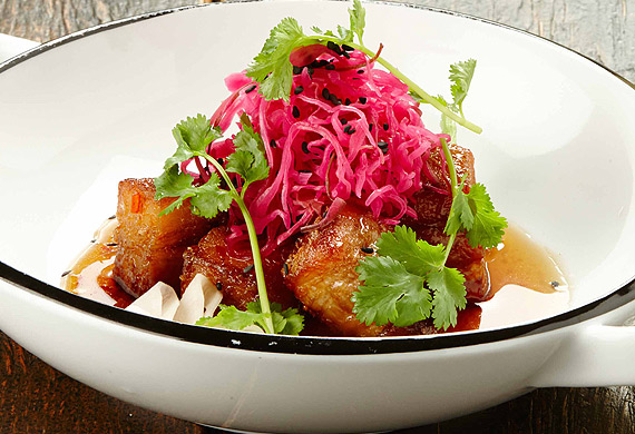 Gary Mehigan's crispy pork with chilli caramel sauce and pickled daikon