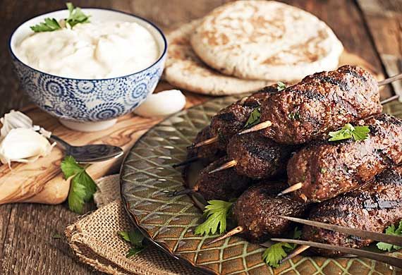 Lamb and chickpea koftas with yoghurt dip