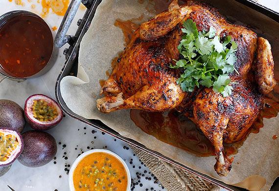 Sammy & Bella's roast chicken with spicy Peruvian passionfruit sauce