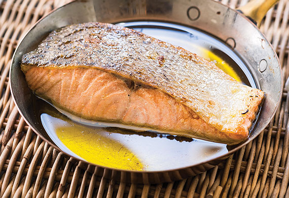 Mary Valle's salmon poached in olive oil
