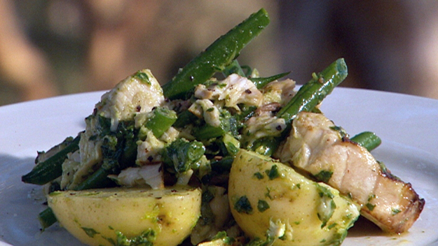 Grilled swordfish with pesto, beans and potatoes