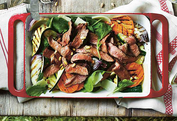 Grilled beef rump steak, zucchini, sweet potato and rocket salad
