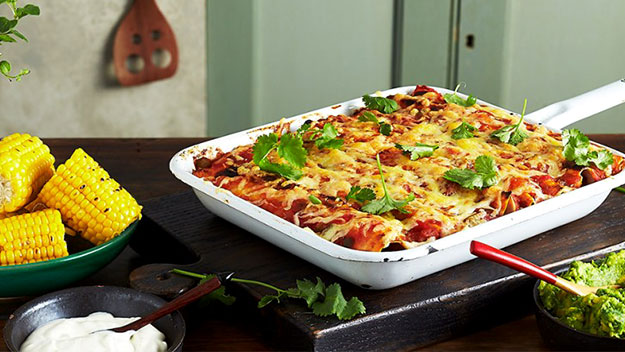 Beef and bean enchilada bake