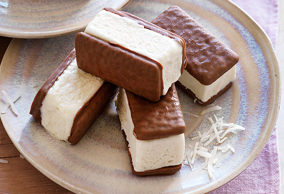 Coconut Tim Tam ice-cream sandwiches