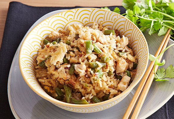 Poh's chicken and green bean fried rice