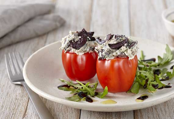 Goat's cheese and black olive stuffed pepper tom