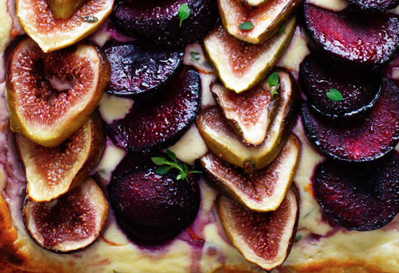 Fig, plum and ricotta tart