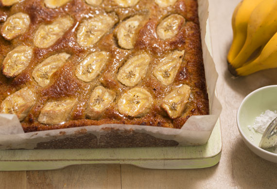 Flourless white chocolate almond slice with orange blossom and banana