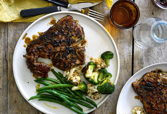 American-style barbecued T-bone steak