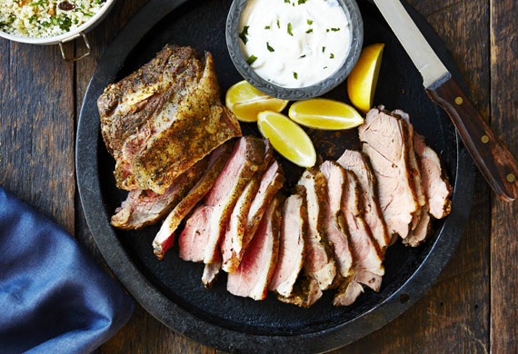 Greek lamb shoulder with cous cous and tzatziki