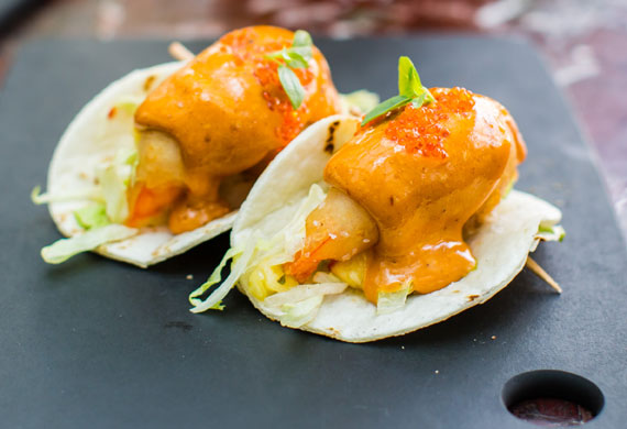 Luke Mangan's taco of tempura prawn, pineapple salsa, chipotle aioli
