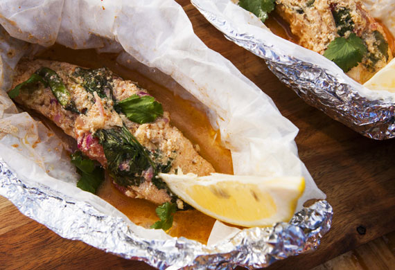 Anjum Anand's tandoori grilled salmon parcels