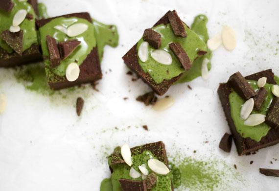 Vegan fudgy chocolate black bean brownies with coconut matcha ganache