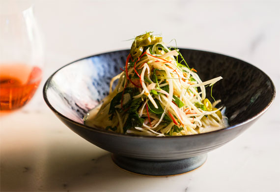 Longrain's coconut poached chicken with green papaya and Vietnamese mint