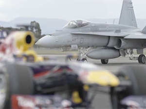 Daniel Ricciardo's Red Bull F1 car and the RAAF Hornet (supplied)